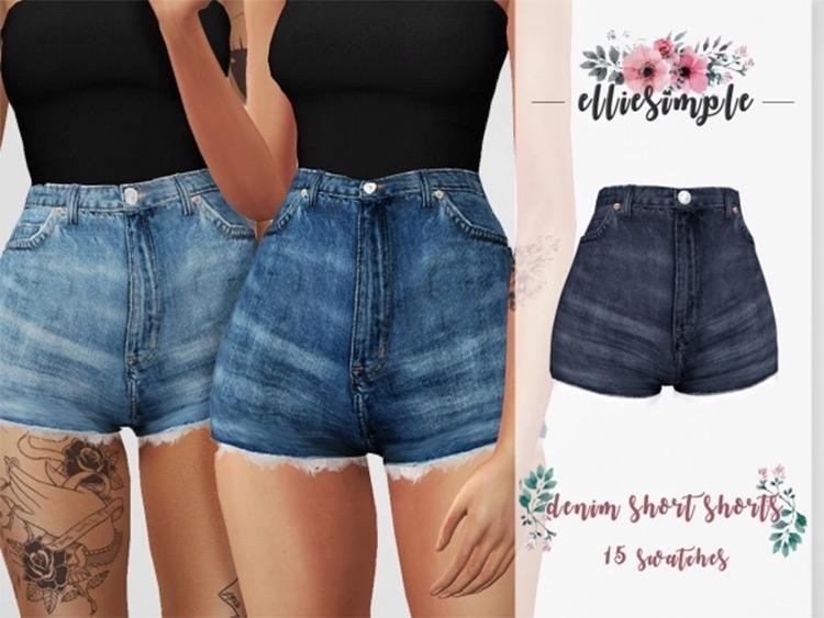 Classic denim jean shorts - TS4 CC