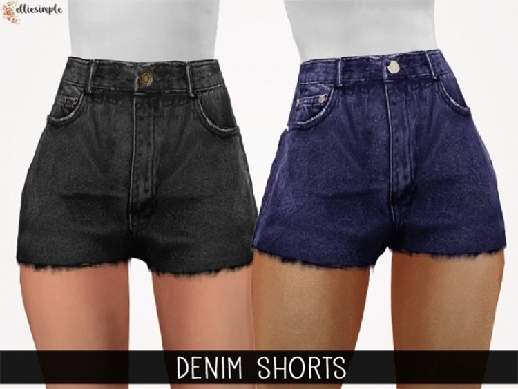 Denim high-rise shorts for girls CC