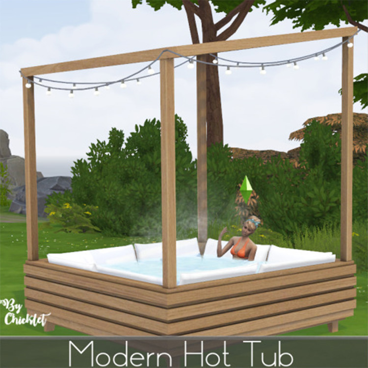 Modern hot tub design with overhang frame - Sims 4 CC