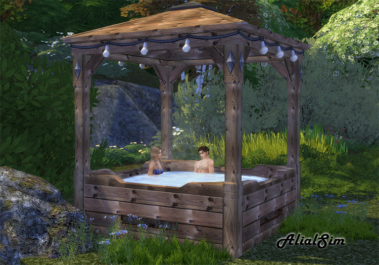 Wooden structure gazebo-style hot tub - Sims 4 CC