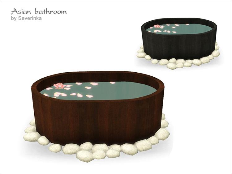 Japanese tub design for asian bathroom - Sims 4 CC