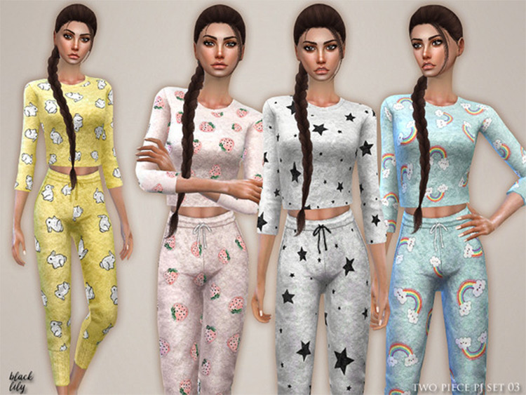 Cute patterns sims 4 pajama set CC