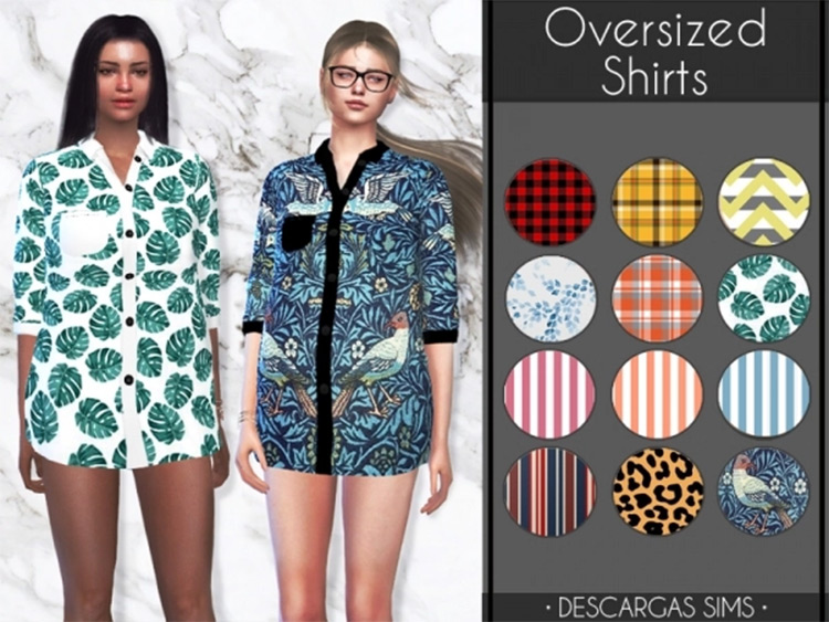 Oversized Shirts - Sims 4 Sleepwear CC