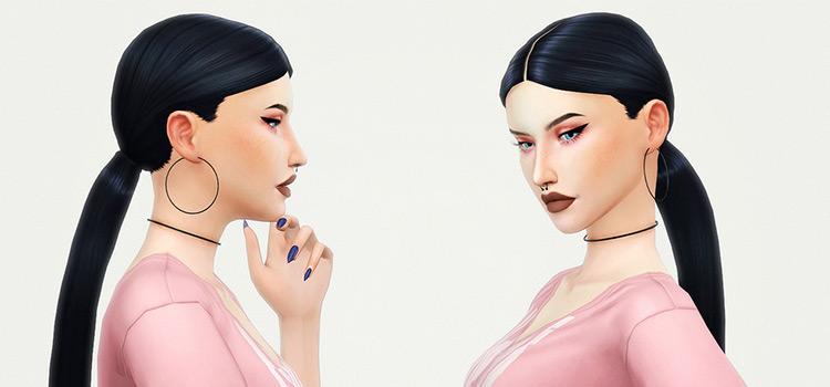 Arianna dark straight-hair ponytail - Sims 4 CC
