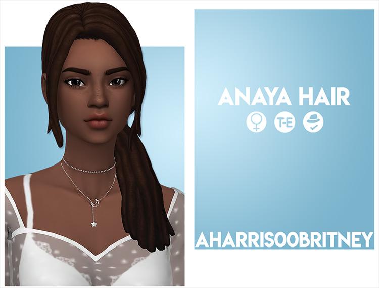 Anaya - Dark hair side ponytail Sims 4 CC