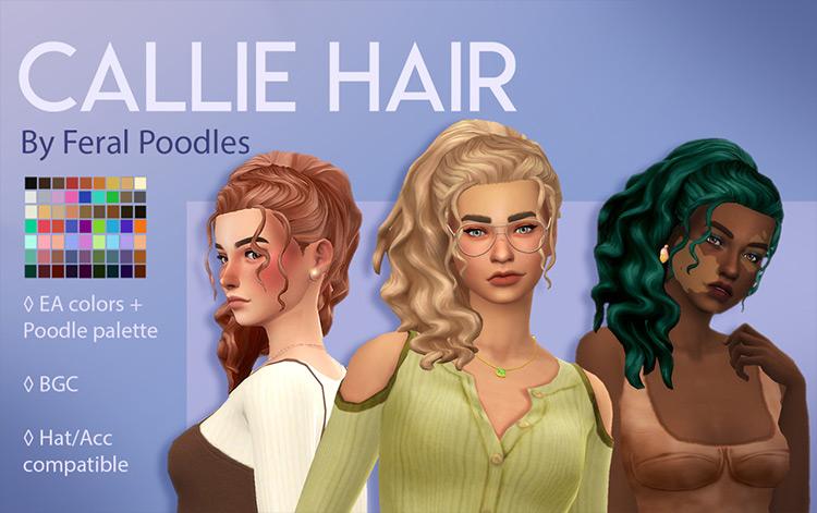 Callie Ponytail Hair - Sims 4 CC
