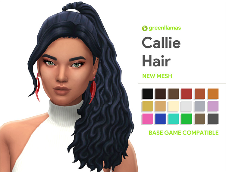 Callie Curly Ponytail CC - Sims 4 screenshot