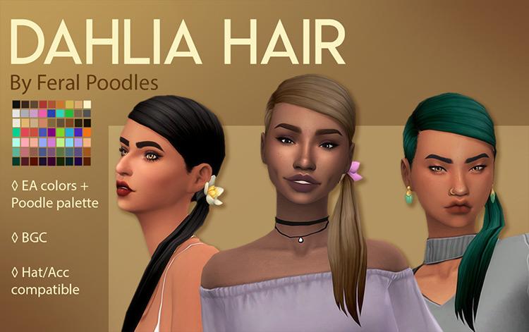 Dahlia CC for Sims 4 - multiple Ponytail hairdo styles