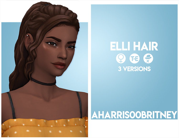 Elli CC for Sims 4 - Ponytail-styled hairdo