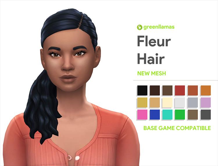 Fleur Ponytail Sims 4 CC