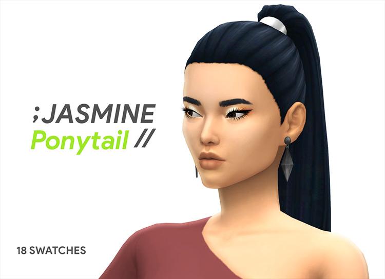Jasmine Dark Straight Ponytail Hair CC - The Sims 4
