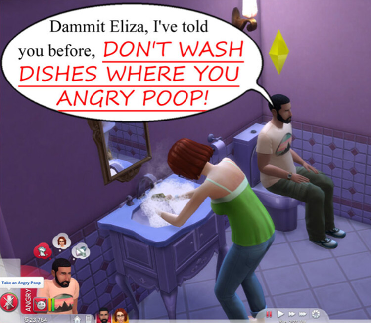 Don't Wash Dishes Where You Angry Poop Sims 4 mod