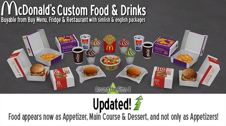 McDonald's Custom Food & Drinks Sims 4 mod
