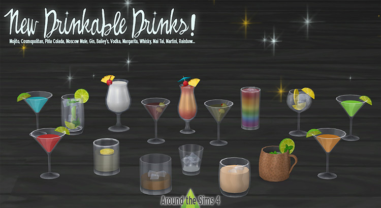Drinkable Alcoholic Drinks mod for Sims 4
