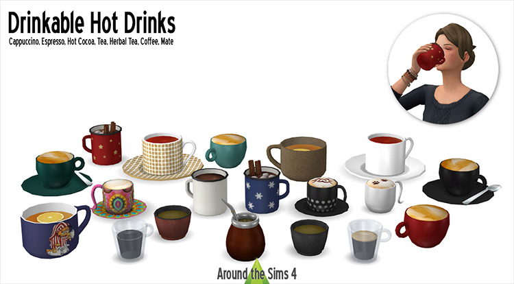 Drinkable Hot Drinks Sims 4 mod
