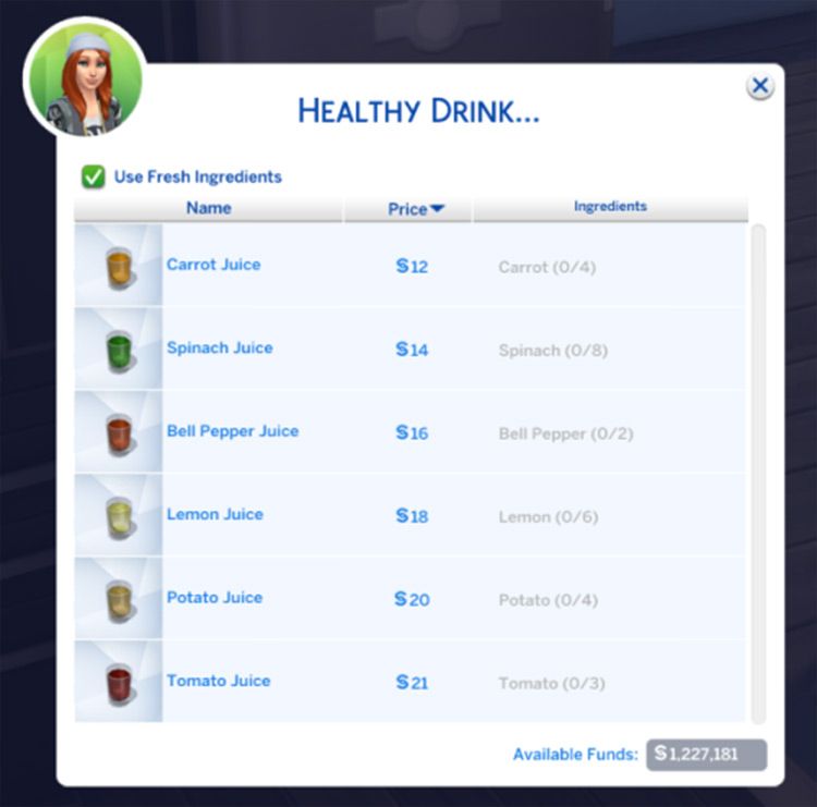 Healthy Drinks mod for Sims 4