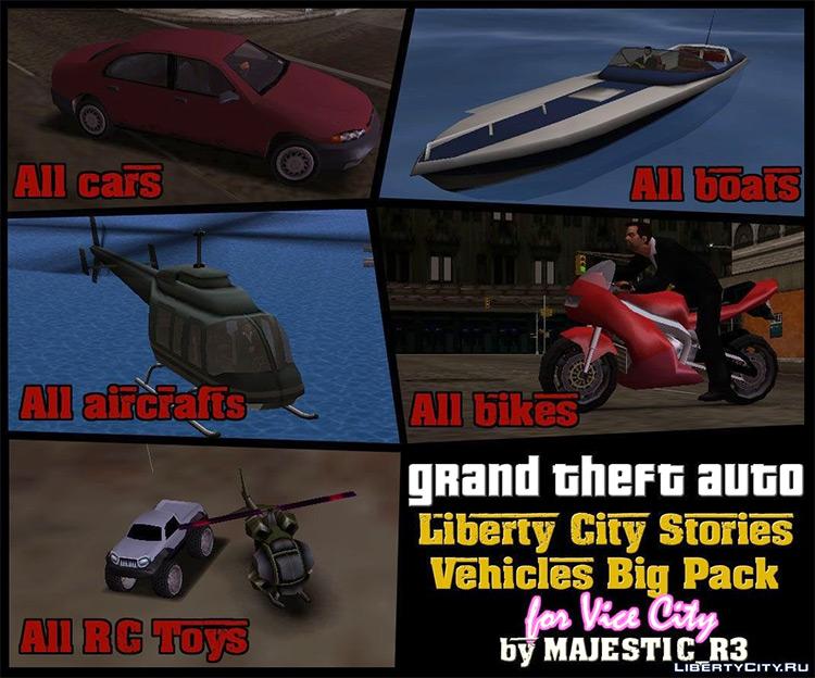 Liberty City Stories Vehicles - Vice City Mod