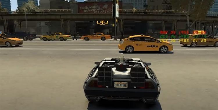 BTTF Delorean Car Mod - GTA4 Screenshot