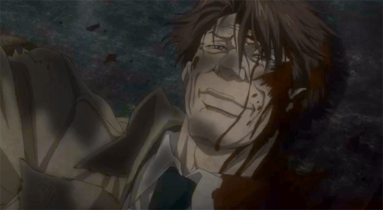 Wounded Tomomi Masaoka in Psycho-Pass Anime
