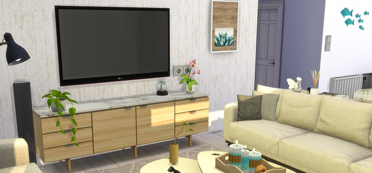 Sims 4 Beach House Living Room Flat-Screen Television