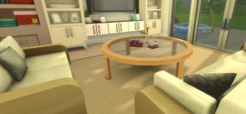 Rounded wooden and glass coffee table - Sims 4 CC