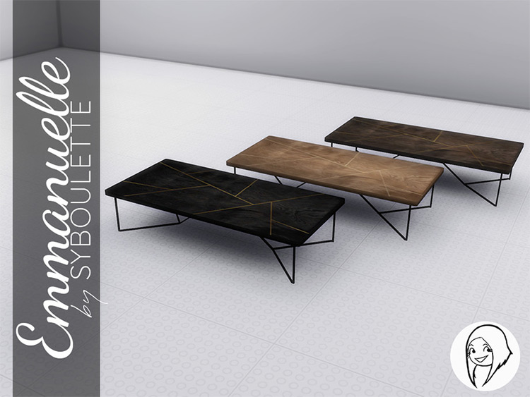 Wooden long traditional coffee tables for Sims4