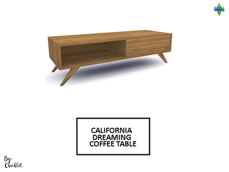California Dreaming wooden coffeetable - Sims 4 CC