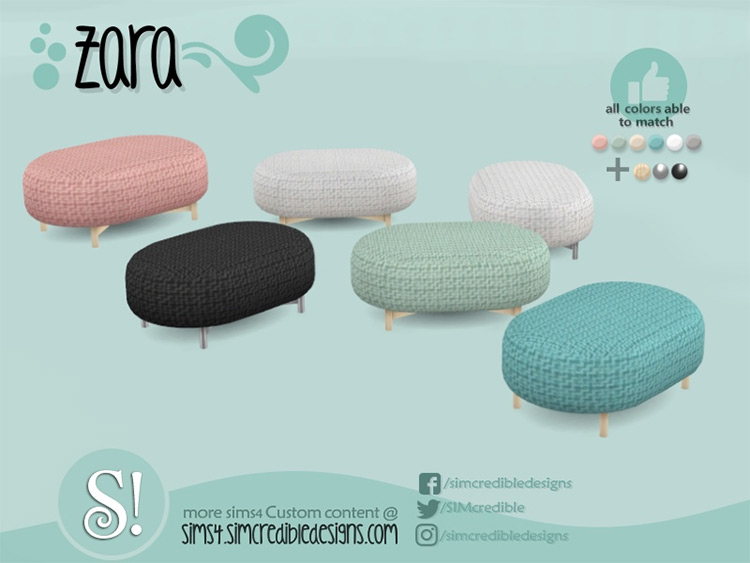 Soft pouf as a coffee table - Sims 4 CC