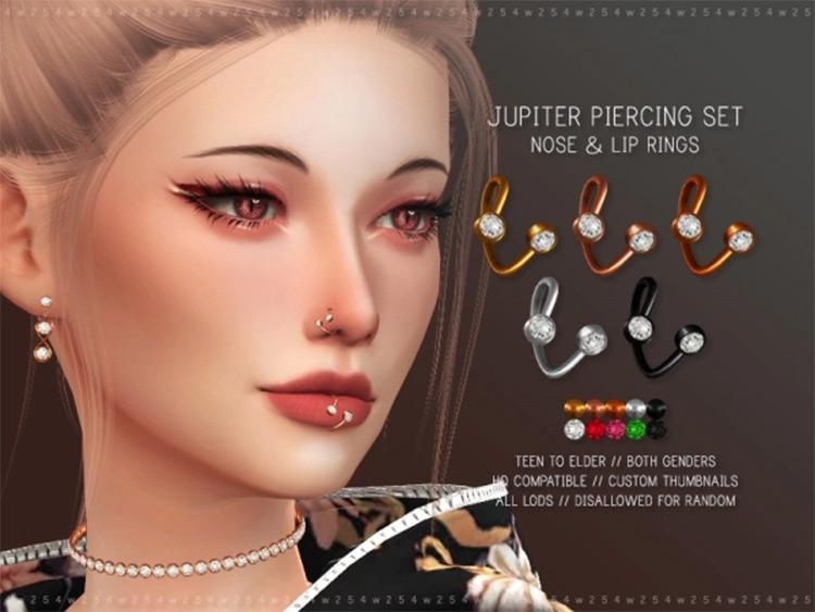 Cute Sims4 Nose & Lip Rings - Jupiter CC
