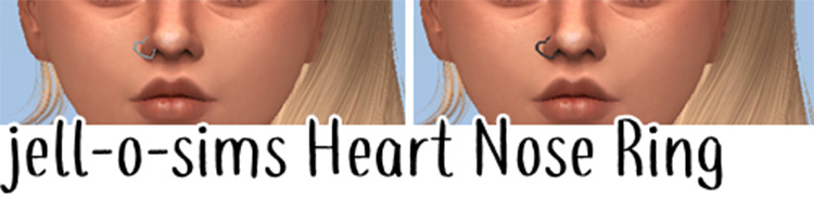 Heart-shaped side nose ring - Sims 4 CC