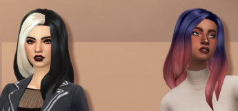 Dark and blue ombre hairdo styles - TS4