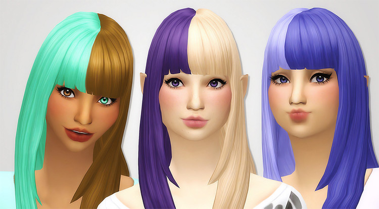 Two Toned Bangs Recolor for Sims 4