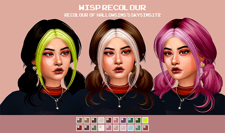 Cosmic CC Wisp Recolored Sims4 Hair