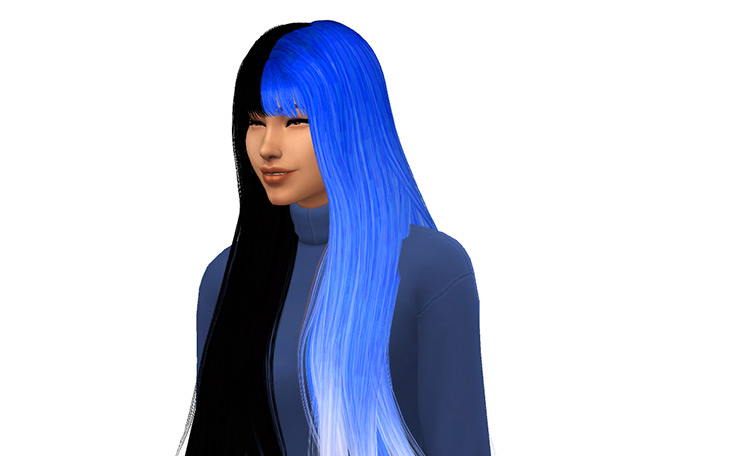 Black and Blue Ombre hair for Sims 4