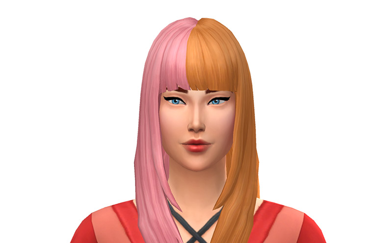 Sims 4 Ombre hairstyle - Orange and Pink