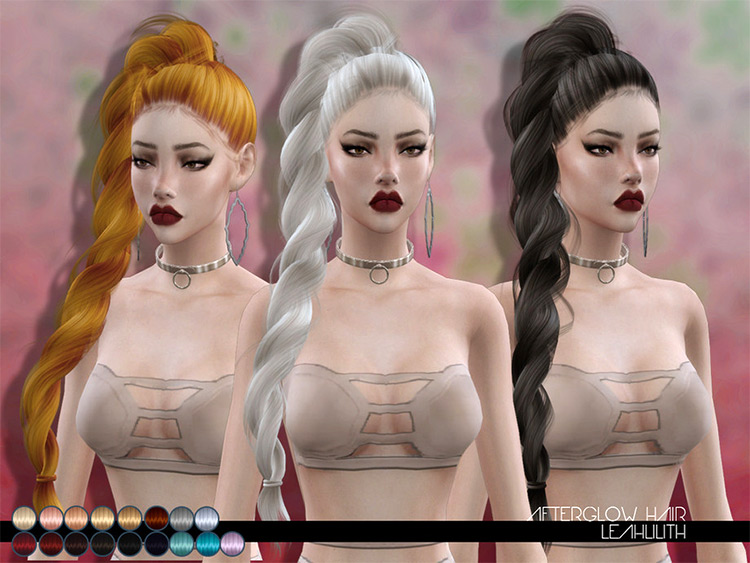 Princess Leia Sims4 Side Ponytail CC