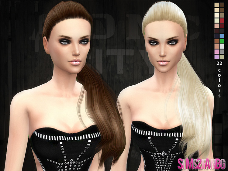 Selena side pony hairdo Sims4 CC