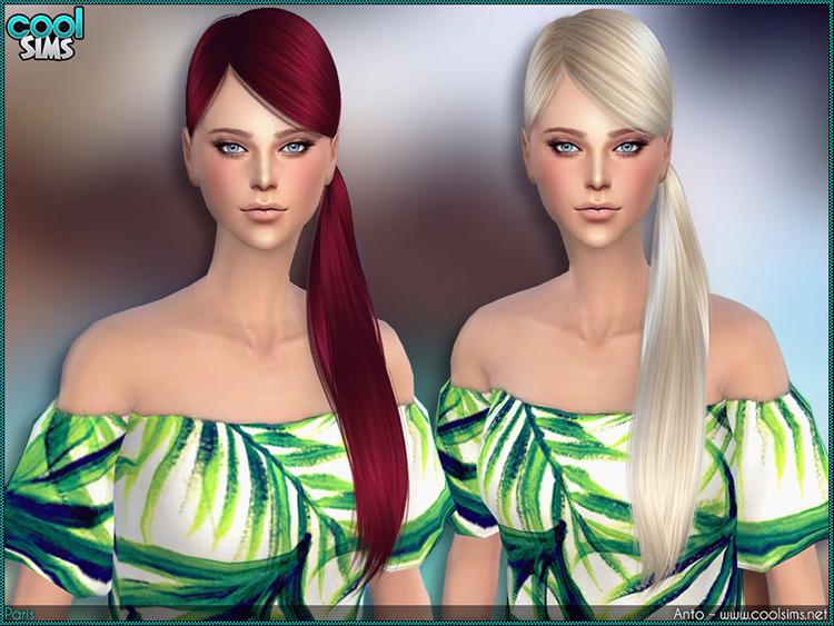 Sims4 CC - Straight redhead side pony