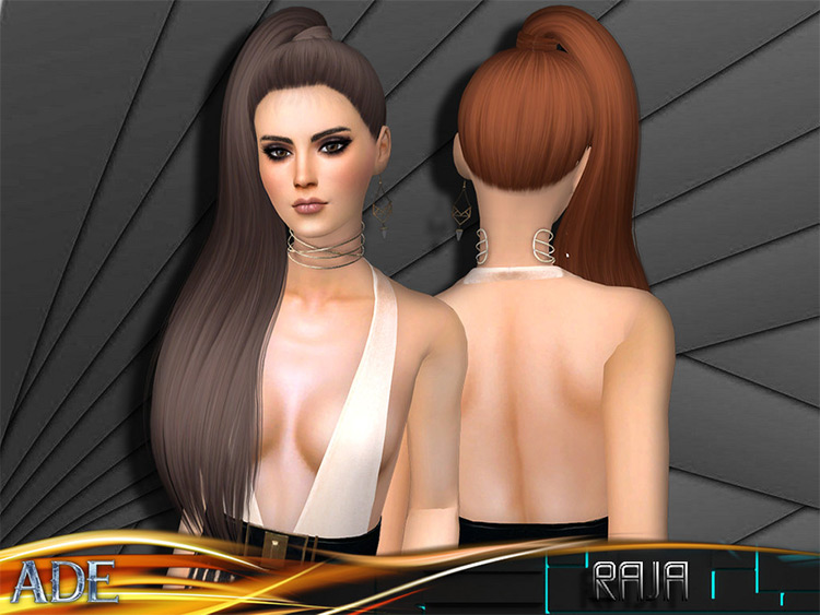 Raja Hair - Long cute side ponytail for Sims 4