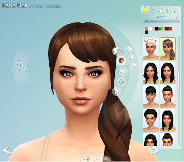 Irene cute girl side ponytail for The Sims 4