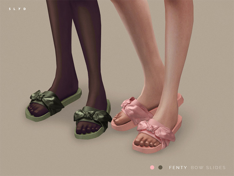 Bow Slides Slippers for Sims 4