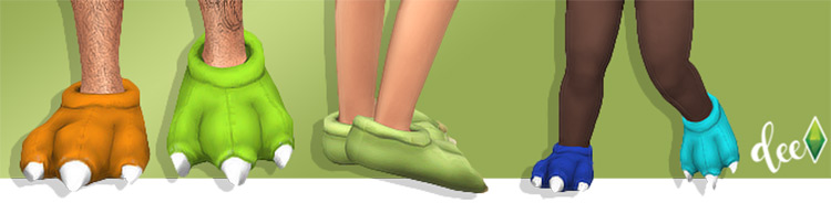 Monster Slippers - Cute Sims 4 CC