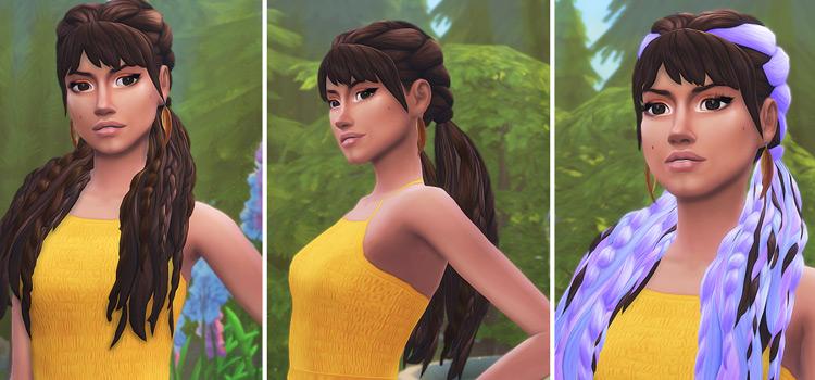 Tara dark hairdo - Sims 4 CC multi-colored purple highlights