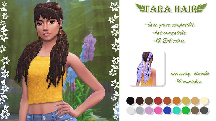 Long brunette hairdo with bangs & braids - Sims 4 CC