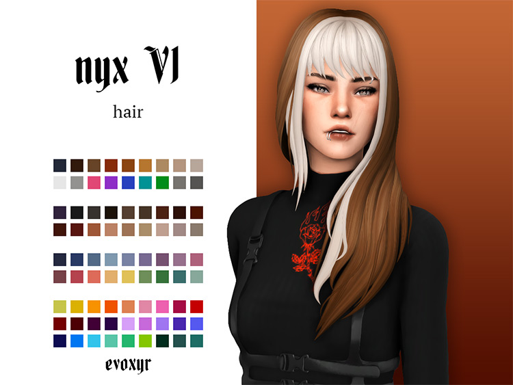 White and brown two-tone sims 4 hair CC