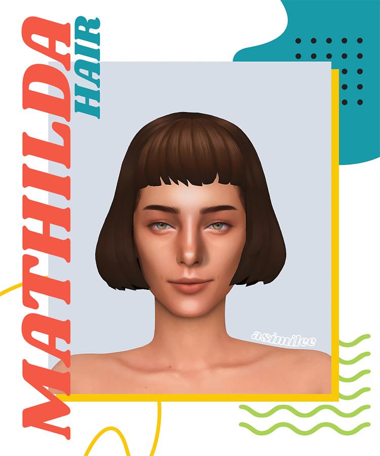Mathilda Sims 4 bangs - short bob hairdo CC