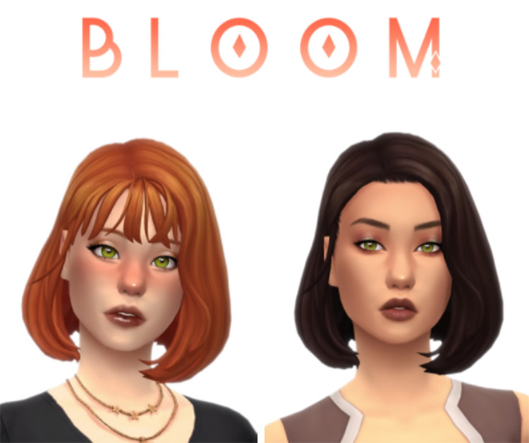 Straight hairdo with light bangs - Sims 4