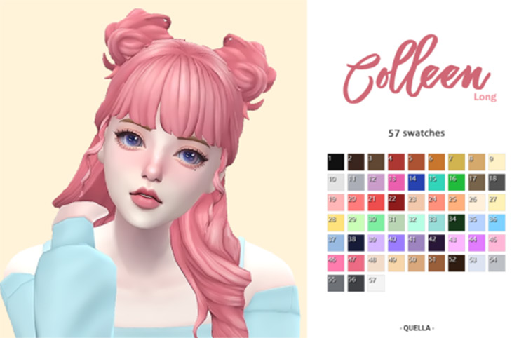 Cute pink should-length hair with bangs - TS4 CC