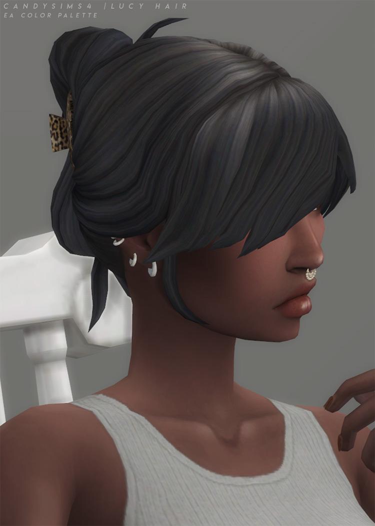 Dark hair with bangs updo CC