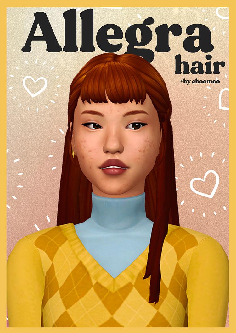 Allegra Sims 4 CC Hair with Bangs